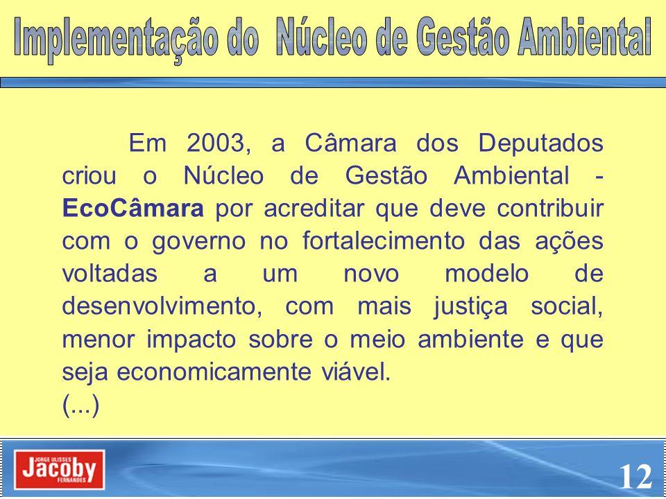 Em 2003, a Câmara dos Deputados criou o Núcleo de Gestão Ambiental - EcoCâmara por acreditar que deve contribuir com o governo no fortalecimento das a