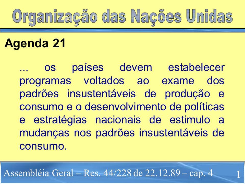 Assembléia Geral – Res. 44/228 de 22.12.89 – cap. 4 Agenda 21... os países devem estabelecer programas voltados ao exame dos padrões insustentáveis de
