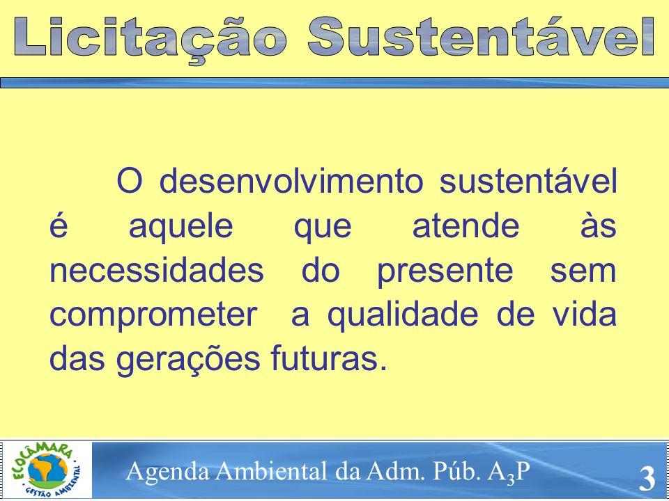 O desenvolvimento sustentável é aquele que atende às necessidades do presente sem comprometer a qualidade de vida das gerações futuras. Agenda Ambient