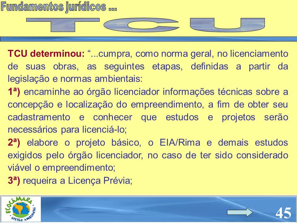 45 TCU determinou:...cumpra, como norma geral, no licenciamento de suas obras, as seguintes etapas, definidas a partir da legislação e normas ambienta