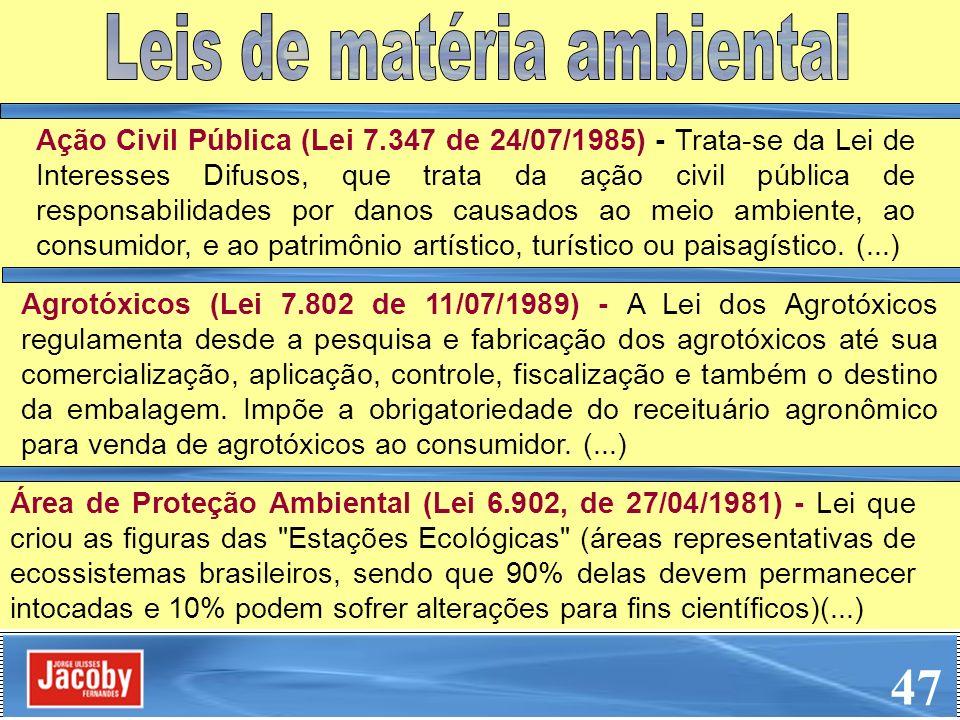 Ação Civil Pública (Lei 7.347 de 24/07/1985) - Trata-se da Lei de Interesses Difusos, que trata da ação civil pública de responsabilidades por danos c