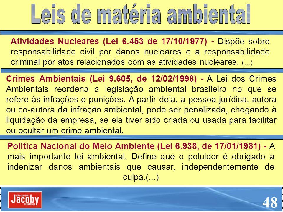 Atividades Nucleares (Lei 6.453 de 17/10/1977) - Dispõe sobre responsabilidade civil por danos nucleares e a responsabilidade criminal por atos relaci