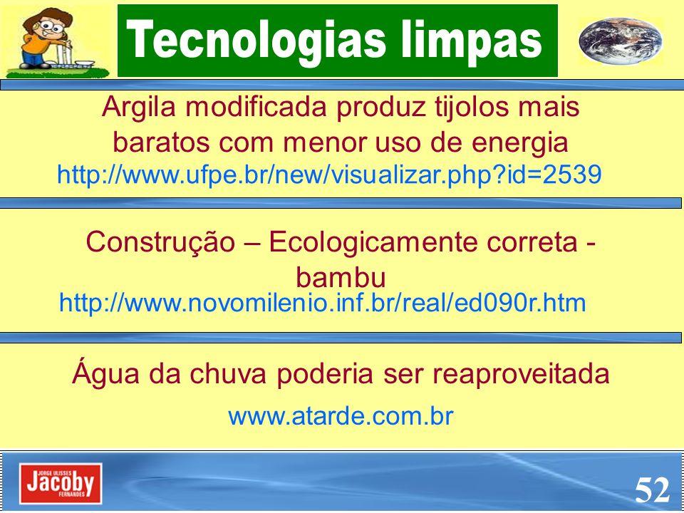 Argila modificada produz tijolos mais baratos com menor uso de energia 52 http://www.ufpe.br/new/visualizar.php?id=2539 Água da chuva poderia ser reap