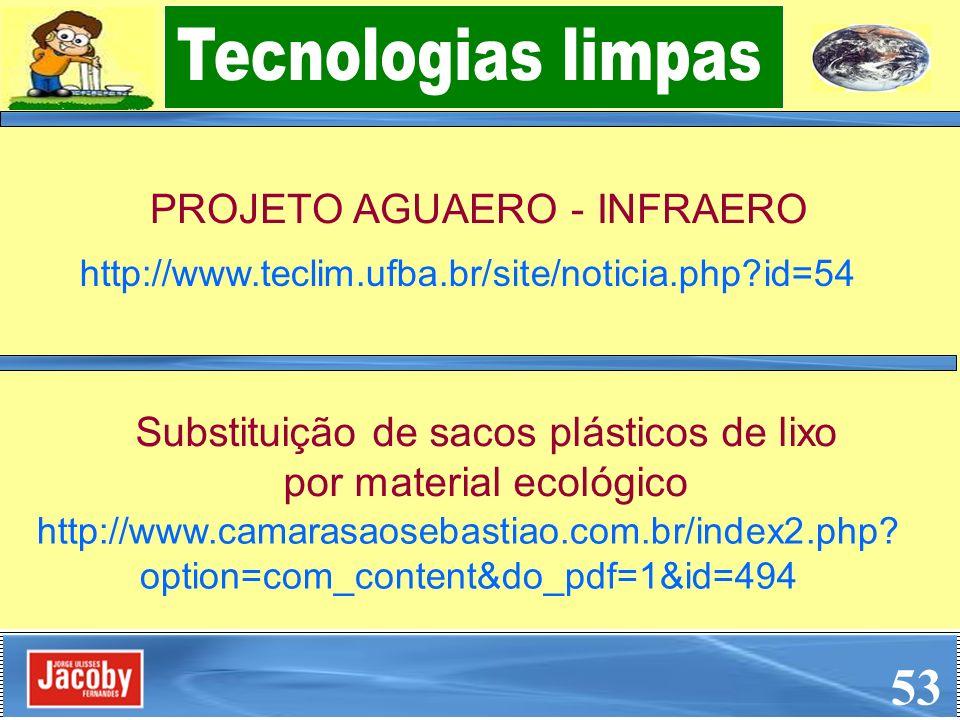 PROJETO AGUAERO - INFRAERO 53 http://www.teclim.ufba.br/site/noticia.php?id=54 Substituição de sacos plásticos de lixo por material ecológico http://w
