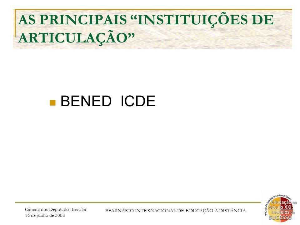 Câmara dos Deputado -Brasília 16 de junho de 2008 SEMINÁRIO INTERNACIONAL DE EDUCAÇÃO A DISTÂNCIA AS PRINCIPAIS INSTITUIÇÕES DE ARTICULAÇÃO BENED ICDE