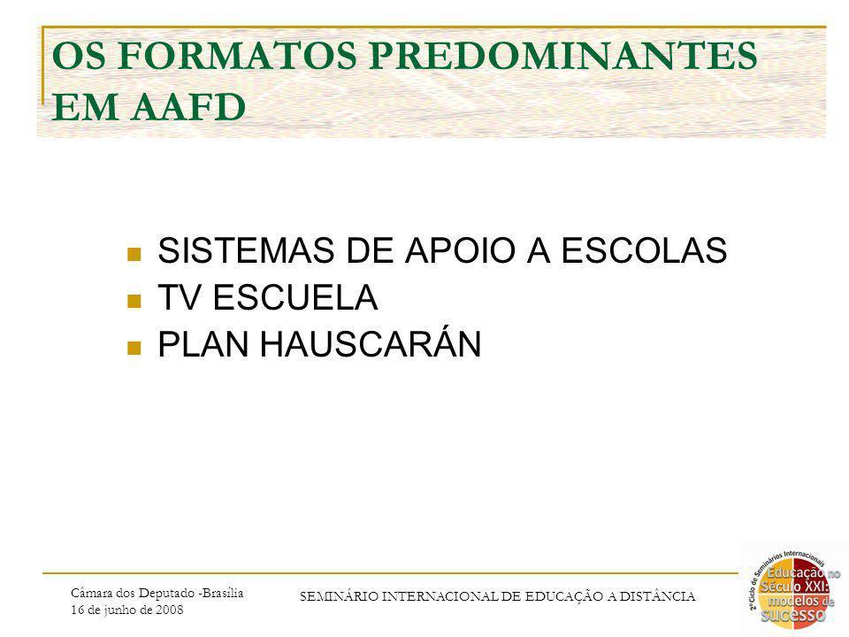 Câmara dos Deputado -Brasília 16 de junho de 2008 SEMINÁRIO INTERNACIONAL DE EDUCAÇÃO A DISTÂNCIA OS FORMATOS PREDOMINANTES EM AAFD SISTEMAS DE APOIO