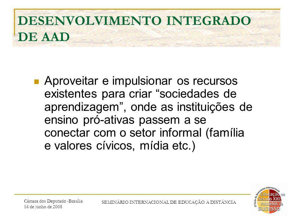 Câmara dos Deputado -Brasília 16 de junho de 2008 SEMINÁRIO INTERNACIONAL DE EDUCAÇÃO A DISTÂNCIA DESENVOLVIMENTO INTEGRADO DE AAD Aproveitar e impuls
