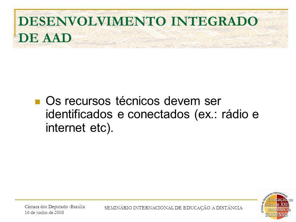Câmara dos Deputado -Brasília 16 de junho de 2008 SEMINÁRIO INTERNACIONAL DE EDUCAÇÃO A DISTÂNCIA DESENVOLVIMENTO INTEGRADO DE AAD Os recursos técnico