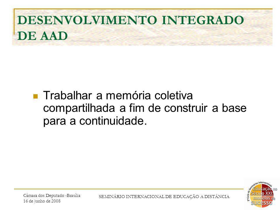 Câmara dos Deputado -Brasília 16 de junho de 2008 SEMINÁRIO INTERNACIONAL DE EDUCAÇÃO A DISTÂNCIA DESENVOLVIMENTO INTEGRADO DE AAD Trabalhar a memória