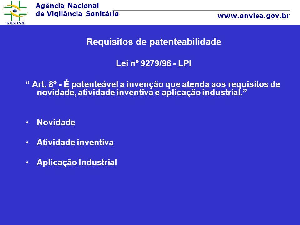 Agência Nacional de Vigilância Sanitária www.anvisa.gov.br Questões relevantes no Segundo Uso Patente de uso é uma ficção jurídica já que a LPI 9279/96 só prevê em seu artigo 40, patentes para produtos e processos.