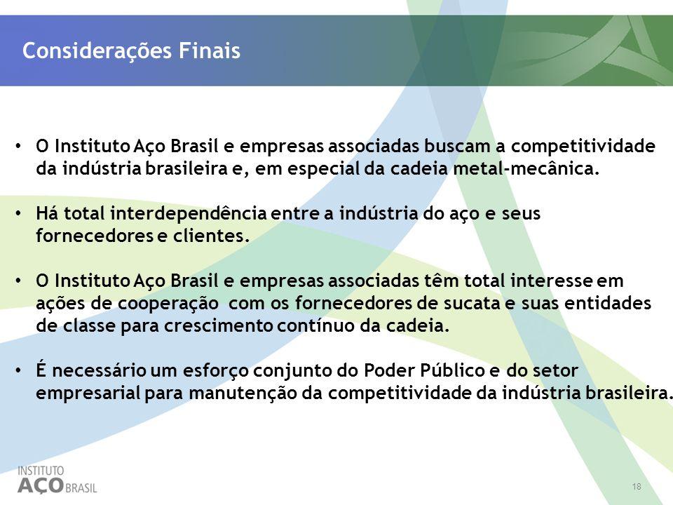 18 Considerações Finais O Instituto Aço Brasil e empresas associadas buscam a competitividade da indústria brasileira e, em especial da cadeia metal-m