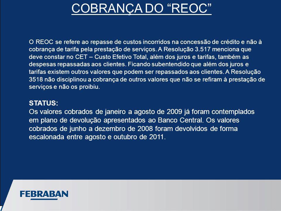 O REOC se refere ao repasse de custos incorridos na concessão de crédito e não à cobrança de tarifa pela prestação de serviços.