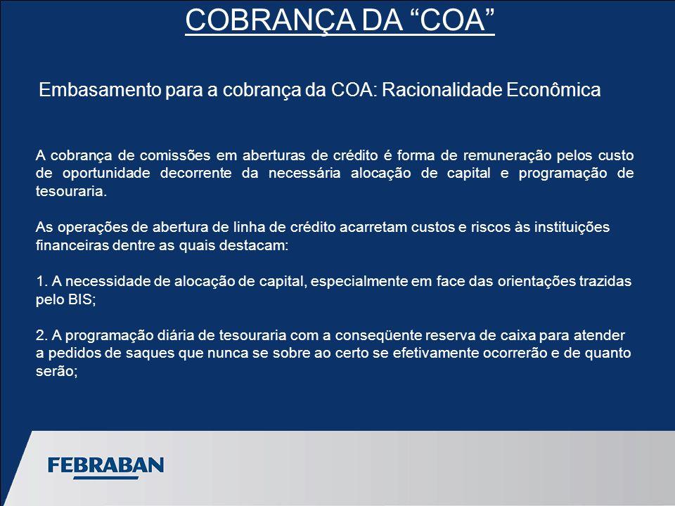 COBRANÇA DA COA A cobrança de comissões em aberturas de crédito é forma de remuneração pelos custo de oportunidade decorrente da necessária alocação de capital e programação de tesouraria.