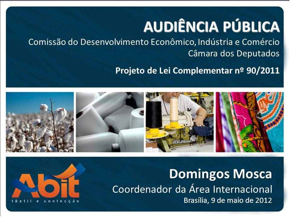 AUDIÊNCIA PÚBLICA Comissão do Desenvolvimento Econômico, Indústria e Comércio Câmara dos Deputados Domingos Mosca Coordenador da Área Internacional Brasília, 9 de maio de 2012 Projeto de Lei Complementar nº 90/2011