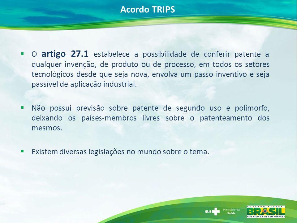 Acordo TRIPS O artigo 27.1 estabelece a possibilidade de conferir patente a qualquer invenção, de produto ou de processo, em todos os setores tecnológicos desde que seja nova, envolva um passo inventivo e seja passível de aplicação industrial.