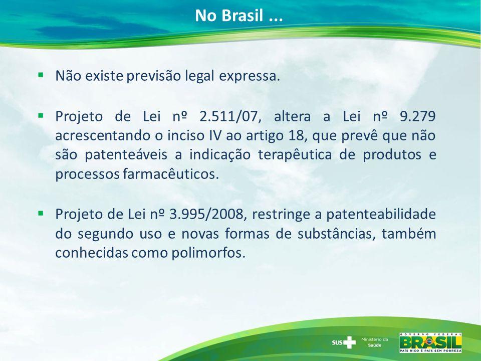 No Brasil... Não existe previsão legal expressa. Projeto de Lei nº 2.511/07, altera a Lei nº 9.279 acrescentando o inciso IV ao artigo 18, que prevê q