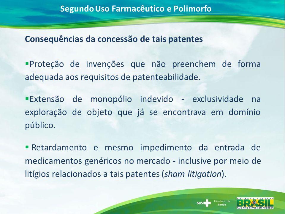 Consequências da concessão de tais patentes Proteção de invenções que não preenchem de forma adequada aos requisitos de patenteabilidade. Extensão de