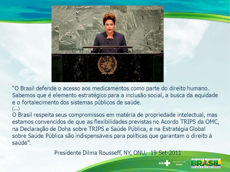 O Brasil defende o acesso aos medicamentos como parte do direito humano.