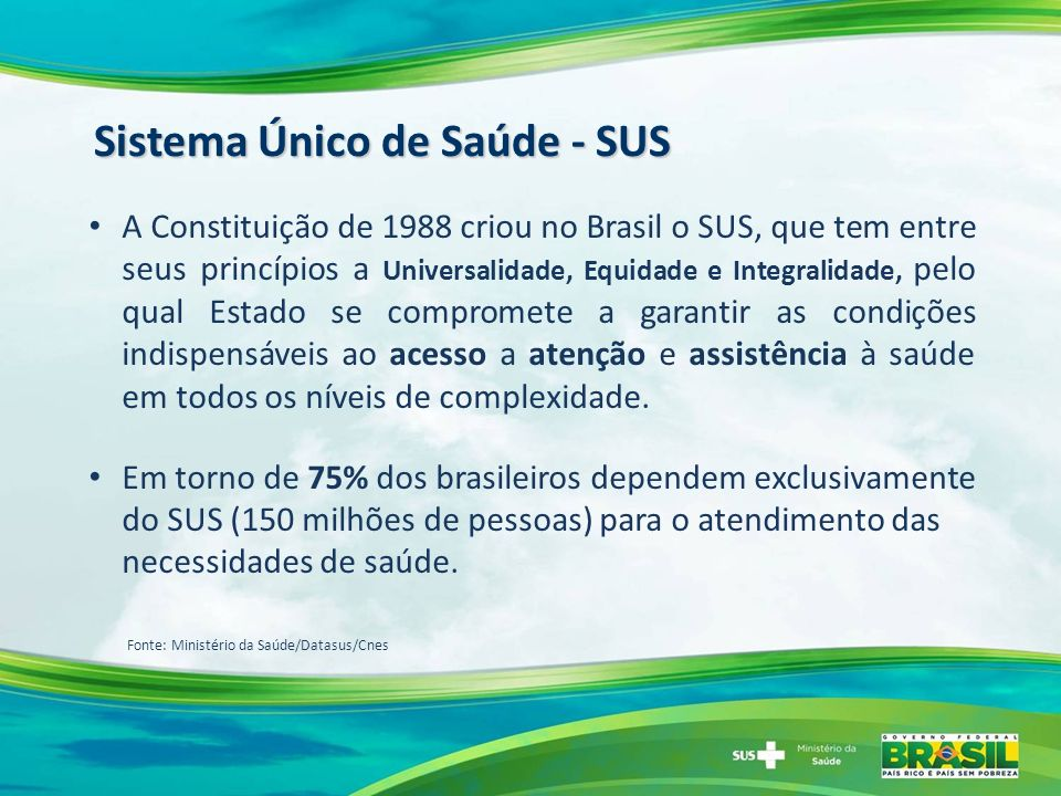 A Constituição de 1988 criou no Brasil o SUS, que tem entre seus princípios a Universalidade, Equidade e Integralidade, pelo qual Estado se compromete a garantir as condições indispensáveis ao acesso a atenção e assistência à saúde em todos os níveis de complexidade.