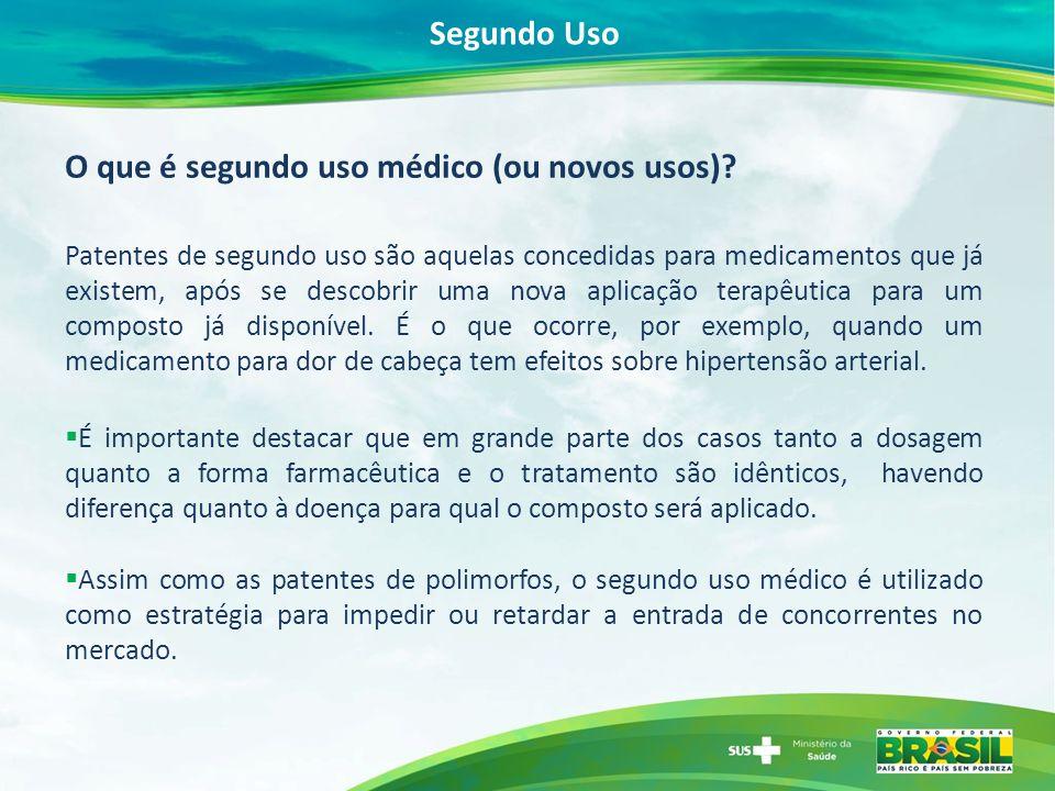 O que é segundo uso médico (ou novos usos)? Patentes de segundo uso são aquelas concedidas para medicamentos que já existem, após se descobrir uma nov
