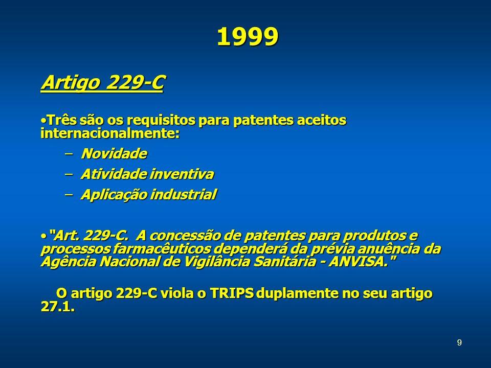 Artigo 229-C Três são os requisitos para patentes aceitos internacionalmente:Três são os requisitos para patentes aceitos internacionalmente: –Novidade –Atividade inventiva –Aplicação industrial Art.