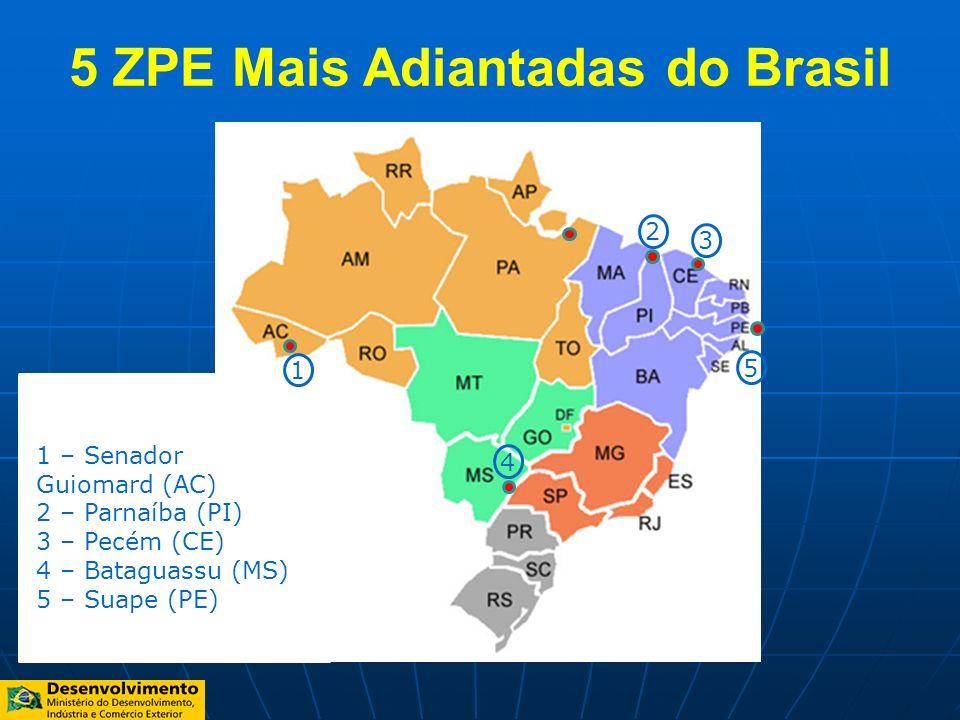 5 ZPE Mais Adiantadas do Brasil 1 – Senador Guiomard (AC) 2 – Parnaíba (PI) 3 – Pecém (CE) 4 – Bataguassu (MS) 5 – Suape (PE) 5 2 4 1 3