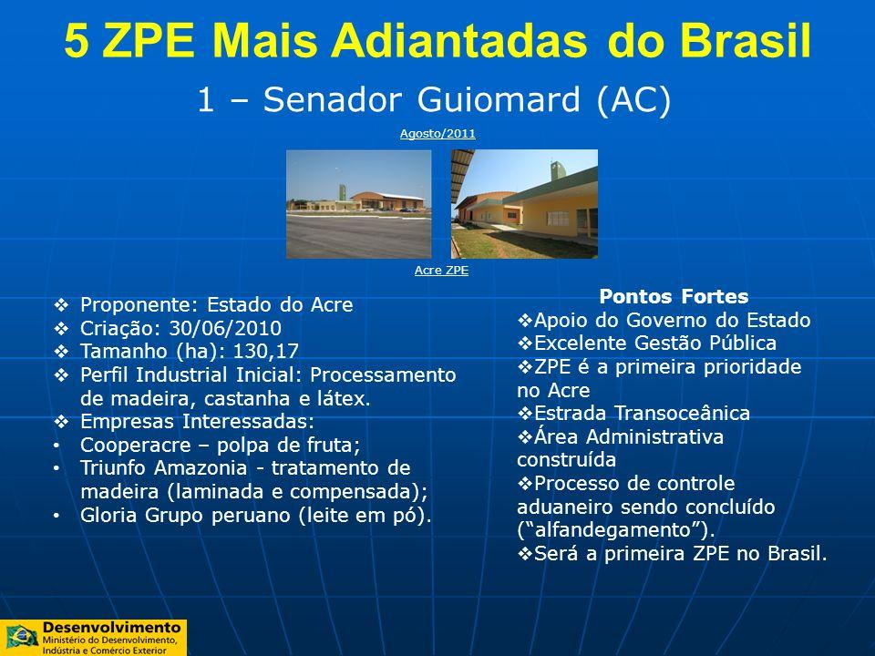 1 – Senador Guiomard (AC) Proponente: Estado do Acre Criação: 30/06/2010 Tamanho (ha): 130,17 Perfil Industrial Inicial: Processamento de madeira, cas
