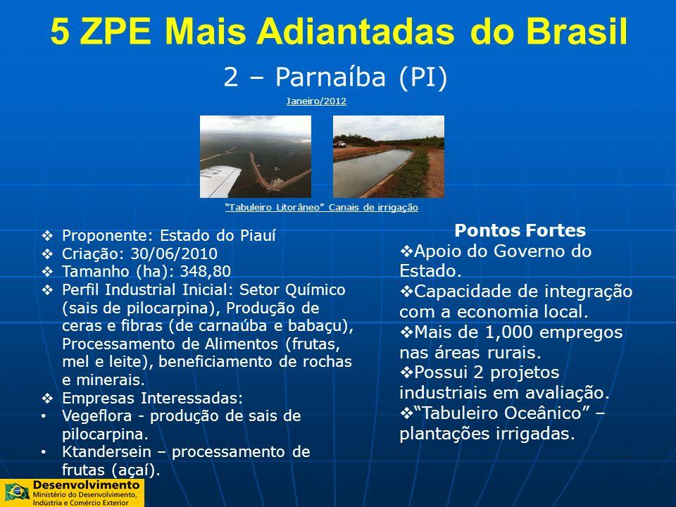 2 – Parnaíba (PI) Proponente: Estado do Piauí Criação: 30/06/2010 Tamanho (ha): 348,80 Perfil Industrial Inicial: Setor Químico (sais de pilocarpina),