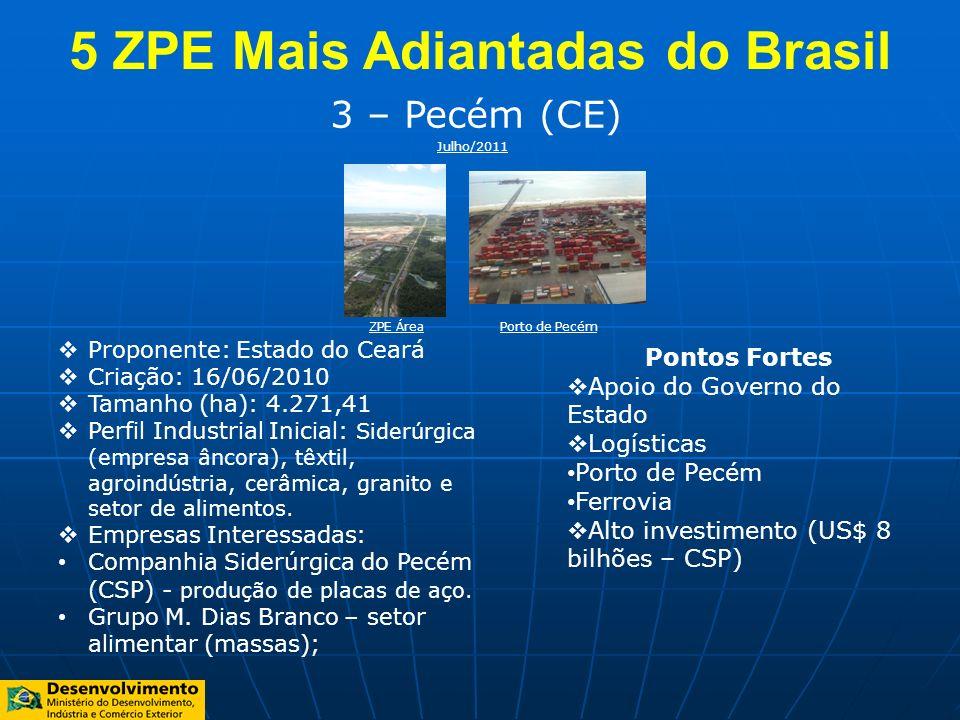 3 – Pecém (CE) Proponente: Estado do Ceará Criação: 16/06/2010 Tamanho (ha): 4.271,41 Perfil Industrial Inicial: Siderúrgica (empresa âncora), têxtil,