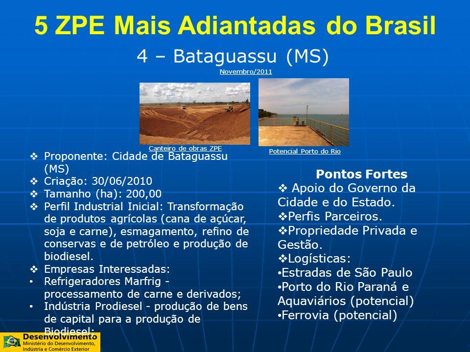 4 – Bataguassu (MS) Proponente: Cidade de Bataguassu (MS) Criação: 30/06/2010 Tamanho (ha): 200,00 Perfil Industrial Inicial: Transformação de produto