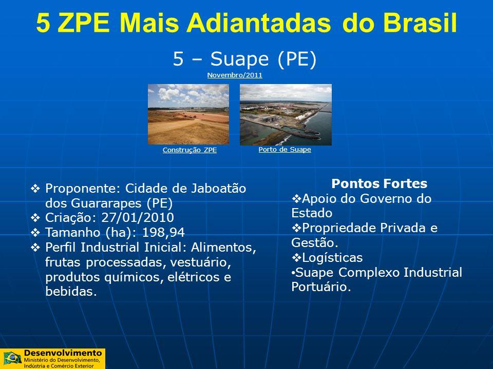 5 – Suape (PE) Proponente: Cidade de Jaboatão dos Guararapes (PE) Criação: 27/01/2010 Tamanho (ha): 198,94 Perfil Industrial Inicial: Alimentos, fruta