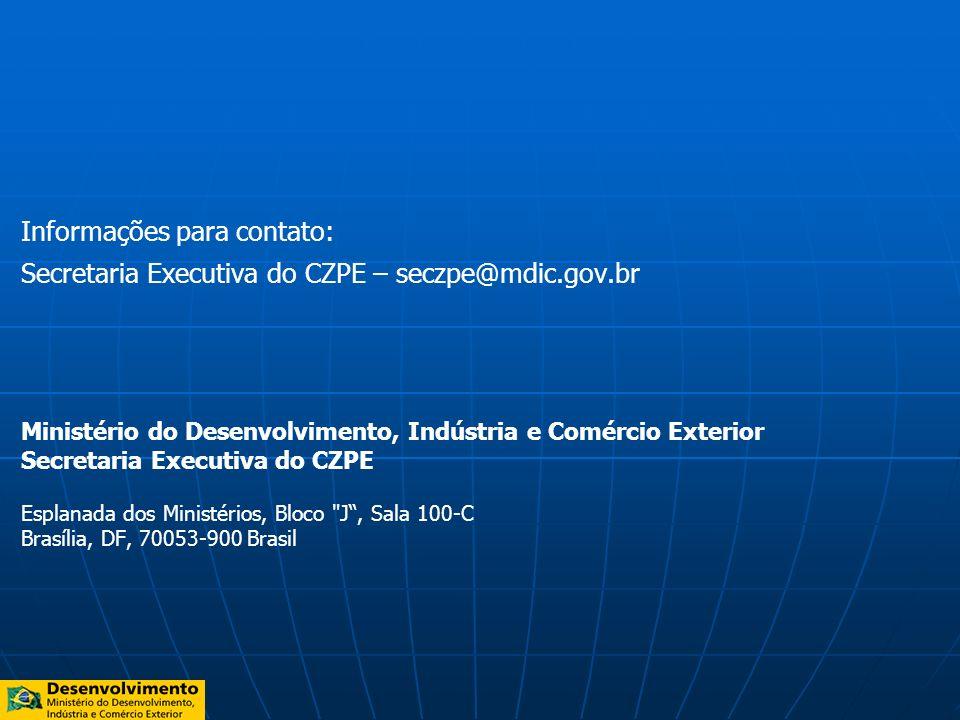 Informações para contato: Secretaria Executiva do CZPE – seczpe@mdic.gov.br Ministério do Desenvolvimento, Indústria e Comércio Exterior Secretaria Ex