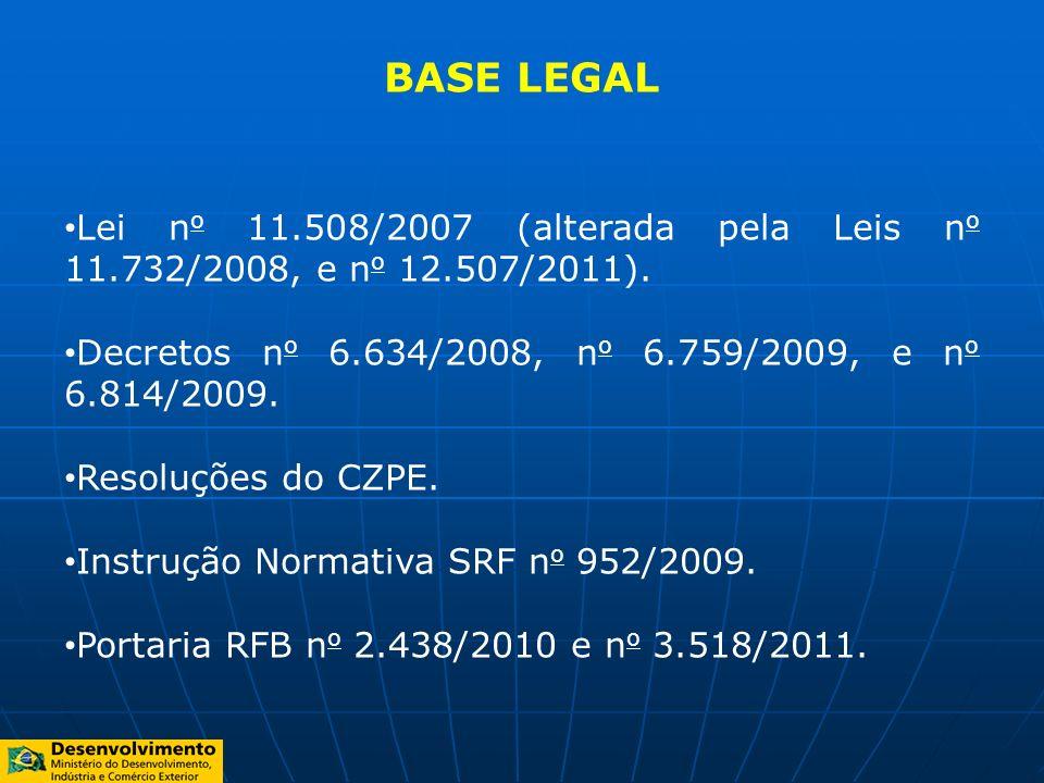 BASE LEGAL Lei n o 11.508/2007 (alterada pela Leis n o 11.732/2008, e n o 12.507/2011). Decretos n o 6.634/2008, n o 6.759/2009, e n o 6.814/2009. Res