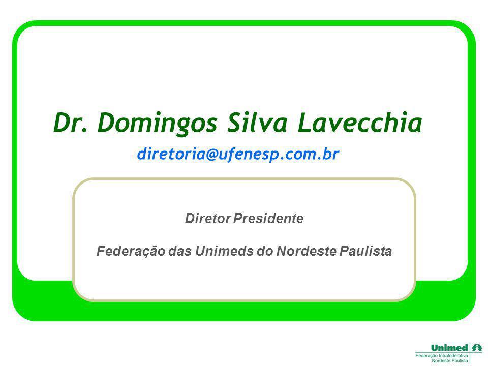 Dr. Domingos Silva Lavecchia Diretor Presidente Federação das Unimeds do Nordeste Paulista diretoria@ufenesp.com.br