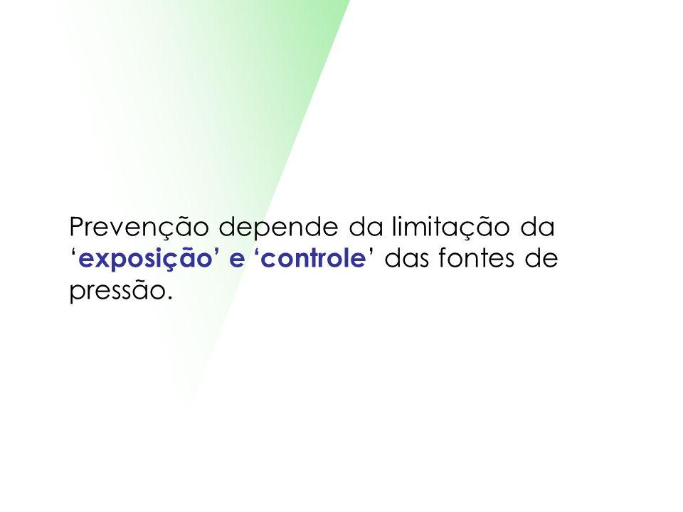 Prevenção depende da limitação da exposição e controle das fontes de pressão.