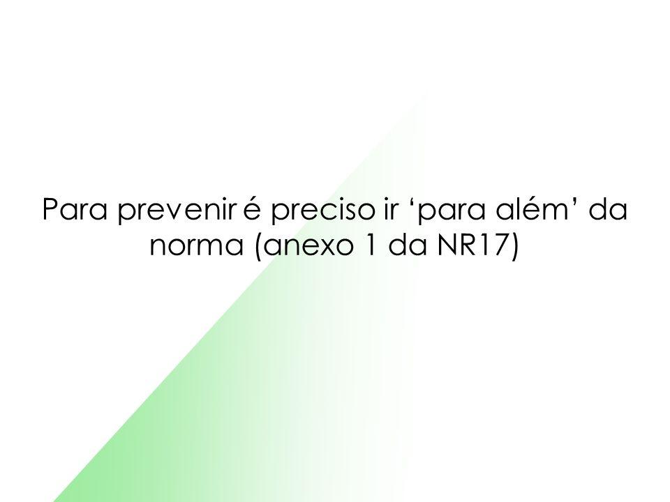 Para prevenir é preciso ir para além da norma (anexo 1 da NR17)