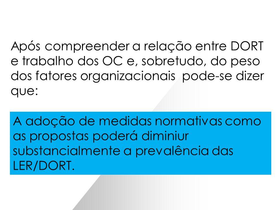 Após compreender a relação entre DORT e trabalho dos OC e, sobretudo, do peso dos fatores organizacionais pode-se dizer que: As DORT são efeito INEVIT