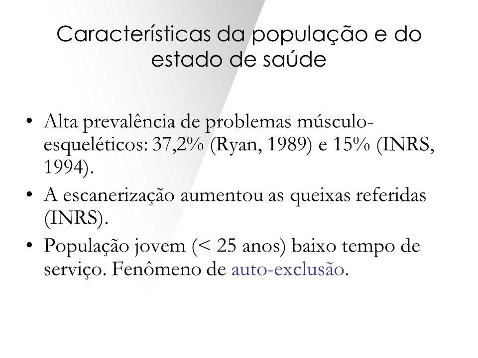 Características da população e do estado de saúde Alta prevalência de problemas músculo- esqueléticos: 37,2% (Ryan, 1989) e 15% (INRS, 1994). A escane