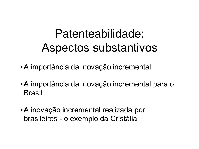 Patenteabilidade: Aspectos substantivos A importância da inovação incremental A importância da inovação incremental para o Brasil A inovação incremental realizada por brasileiros - o exemplo da Cristália