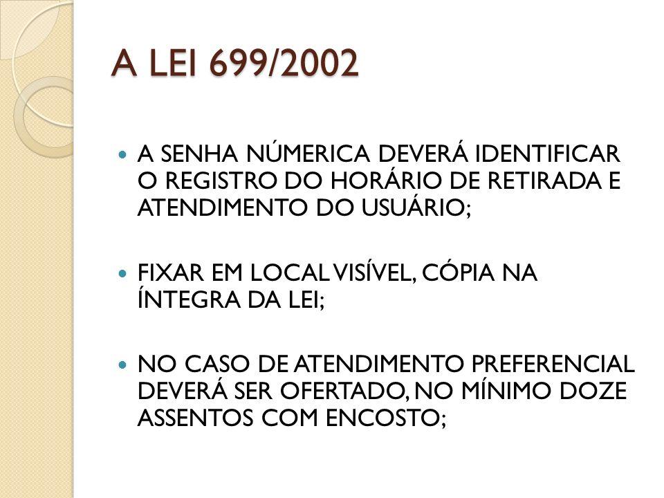 A LEI 699/2002 A SENHA NÚMERICA DEVERÁ IDENTIFICAR O REGISTRO DO HORÁRIO DE RETIRADA E ATENDIMENTO DO USUÁRIO; FIXAR EM LOCAL VISÍVEL, CÓPIA NA ÍNTEGR