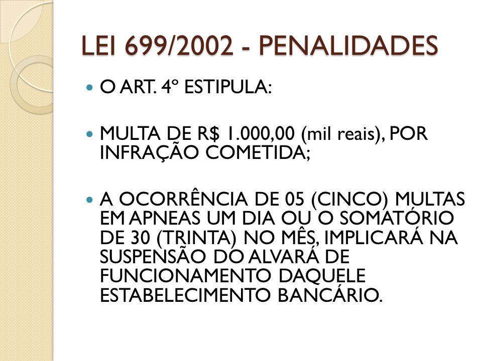 LEI 699/2002 - PENALIDADES O ART. 4º ESTIPULA: MULTA DE R$ 1.000,00 (mil reais), POR INFRAÇÃO COMETIDA; A OCORRÊNCIA DE 05 (CINCO) MULTAS EM APNEAS UM