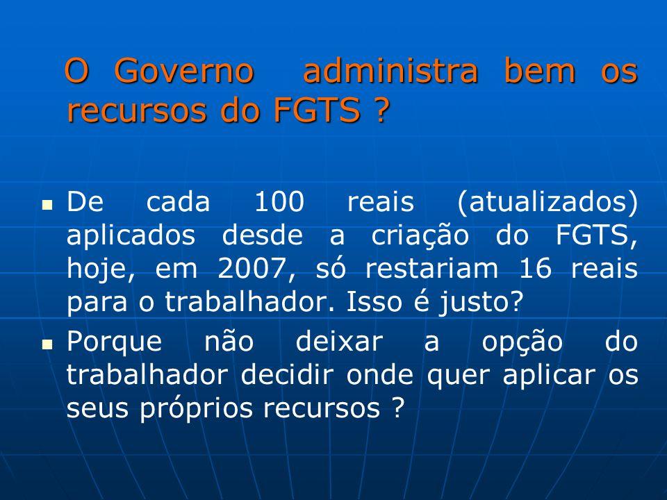 O Governo administra bem os recursos do FGTS ? O Governo administra bem os recursos do FGTS ? De cada 100 reais (atualizados) aplicados desde a criaçã