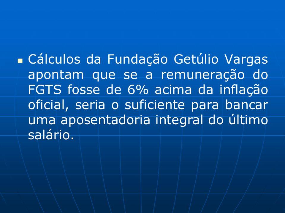 Cálculos da Fundação Getúlio Vargas apontam que se a remuneração do FGTS fosse de 6% acima da inflação oficial, seria o suficiente para bancar uma apo