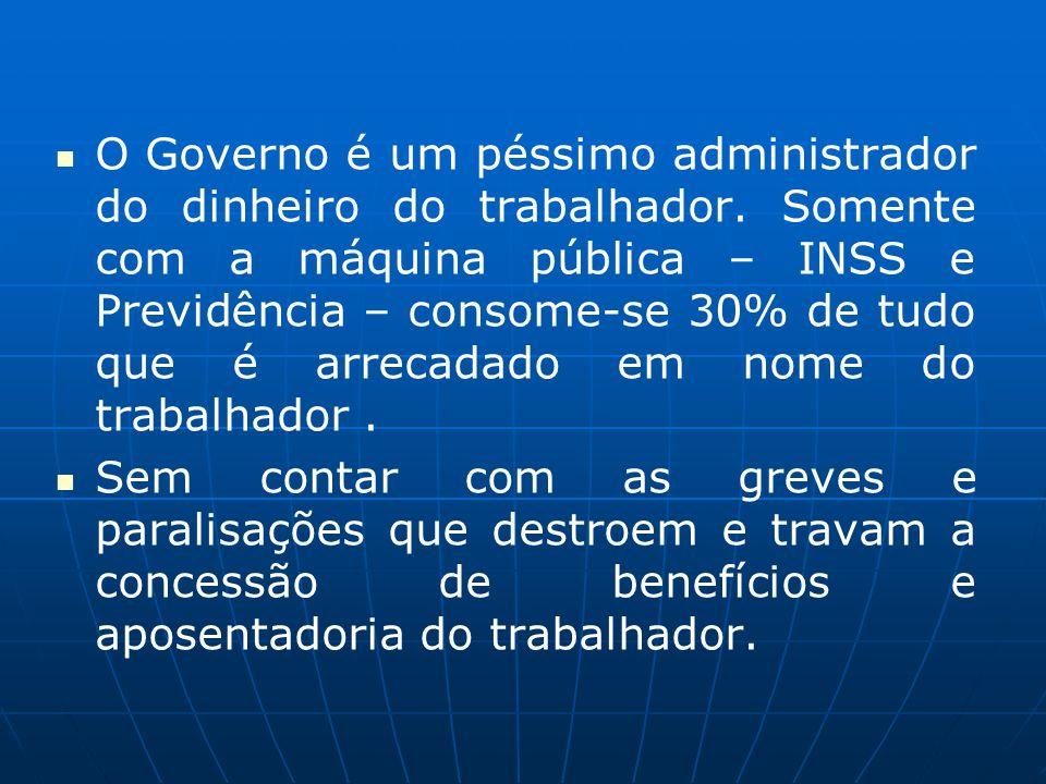 O Governo é um péssimo administrador do dinheiro do trabalhador. Somente com a máquina pública – INSS e Previdência – consome-se 30% de tudo que é arr