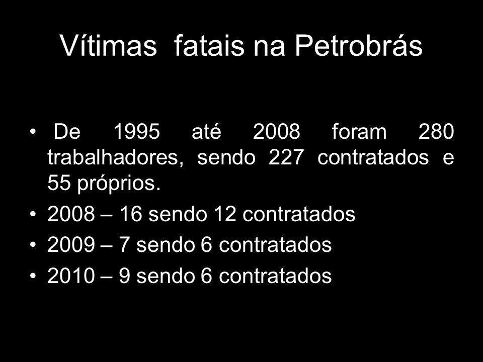 Vítimas fatais na Petrobrás De 1995 até 2008 foram 280 trabalhadores, sendo 227 contratados e 55 próprios. 2008 – 16 sendo 12 contratados 2009 – 7 sen