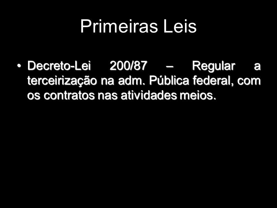 Decreto-Lei 200/87 – Regular a terceirização na adm. Pública federal, com os contratos nas atividades meios.Decreto-Lei 200/87 – Regular a terceirizaç