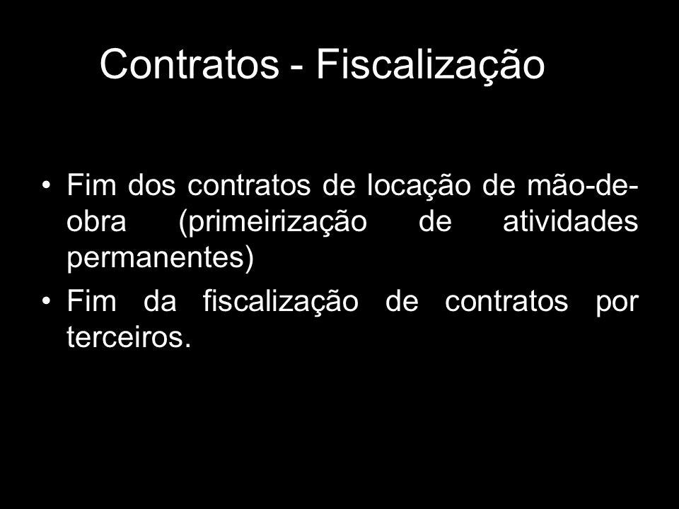 Contratos - Fiscalização Fim dos contratos de locação de mão-de- obra (primeirização de atividades permanentes) Fim da fiscalização de contratos por t