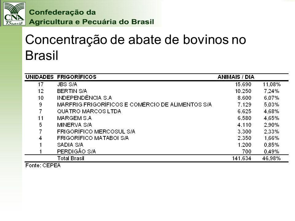 Concentração de abate de bovinos no Brasil