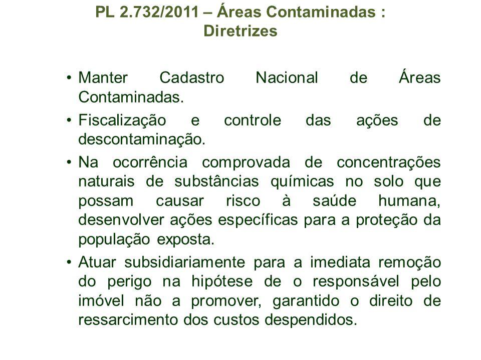 PL 2.732/2011 – Áreas Contaminadas : Diretrizes Manter Cadastro Nacional de Áreas Contaminadas. Fiscalização e controle das ações de descontaminação.