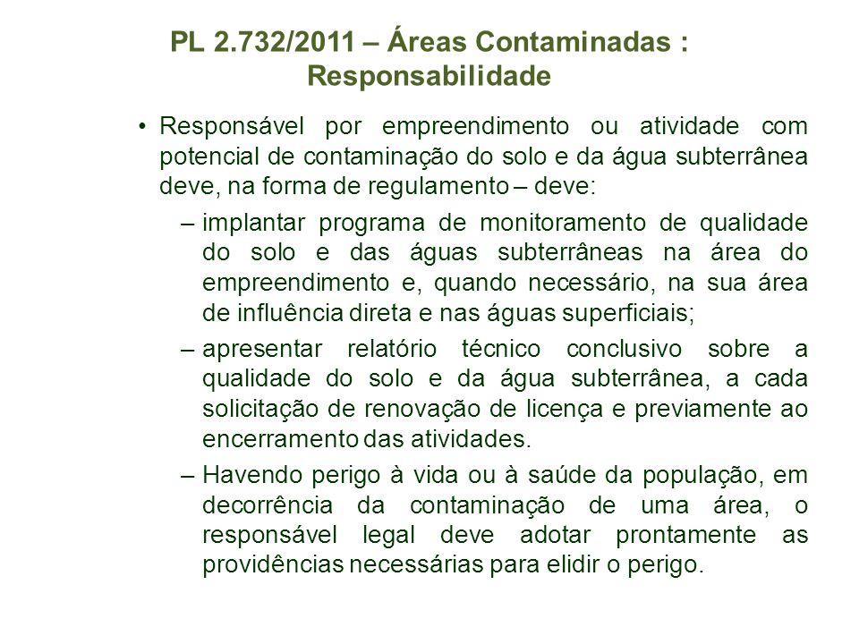 PL 2.732/2011 – Áreas Contaminadas : Responsabilidade Responsável por empreendimento ou atividade com potencial de contaminação do solo e da água subt